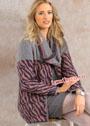 Жакет с жаккардовым анималистским узором и шарф-петля. Спицы