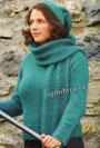 Бирюзовый пуловер с высоким воротником, шапка и шарф. Спицы