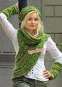 Фисташковый демисезонный комплект: шарф-хомут, шапочка и митенки. Спицы