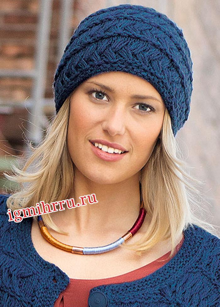 шапка из пряжи синего цвета вязание