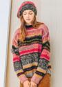 Яркий разноцветный комплект в полоску: пуловер и шапочка. Спицы