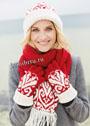 Красно-белый теплый жаккардовый комплект: шапочка, шарф и перчатки. Спицы