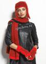 Стильный красно-черный комплект: шапочка, шарф и митенки. Спицы