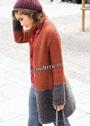 Осенний комплект из теплого расклешенного пальто и шапочки с помпоном. Спицы