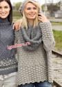 Объемный теплый ансамбль в серых тонах: пуловер, шапка и шарф-петля. Спицы