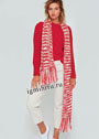Красный шерстяной пуловер, дополненный красно-белым шарфом. Спицы