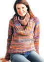 Яркий разноцветный джемпер и шарф. Спицы