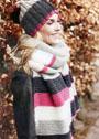 Трехцветный шерстяной комплект: шапочка с помпоном и длинный шарф. Спицы