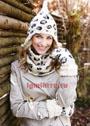 Теплый комплект с леопардовым узором: шапка, шарф-труба и варежки. Спицы