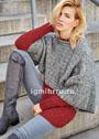Ансамбль в городском стиле: терракотовый пуловер и серая накидка. Спицы