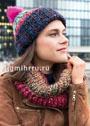 Разноцветный комплект: шапочка с отворотом и снуд. Спицы