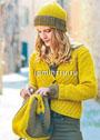 Женственно и практично! Золотисто-коричневый ансамбль: жакет, шапочка и сумка. Спицы