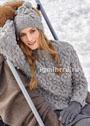 Теплый комплект с выразительными крупными узорами: пуловер и шапочка. Спицы