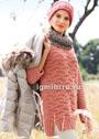 Вязаный ансамбль для прохладной погоды: пуловер, шарф-петля и шапка. Спицы