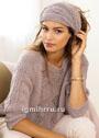 Мягкий теплый комплект цвета розового дерева: пуловер с бордюром и ажурный шарф. Спицы