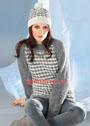 Серо-белый пуловер и шапка с узором Звездочки. Спицы