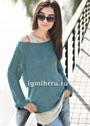 Комплект из шелковой пряжи: ажурный топ и пуловер с сетчатыми рукавами. Спицы