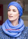 Голубой теплый шарф и налобная повязка. Спицы