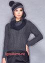 Теплый комплект из пуловера с косами, шапочки и шарфа-хомута. Спицы