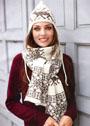 Жаккардовый комплект из шапочки и шарфа с мотивами Олени и Снежинки. Спицы