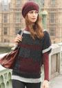 Уютный пуловер с цветными участками, дополненный шапочкой. Спицы