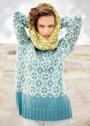 Жаккардовый комплект: пуловер с геометрическим узором и шарф-петля. Спицы