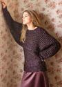 Бордово-серебристый комплект из короткого пуловера и топа. Спицы