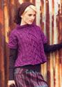 Теплый узорчатый комплект: короткий свободный пуловер и шапочка. Спицы