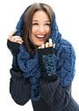Комплект из синего шарфа-хомута и жаккардовых митенок. Спицы