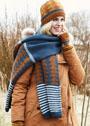 Теплый комплект из шапки и шарфа с жаккардовыми узорами. Спицы