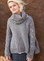 Теплый пуловер с ажурными рукавами, дополненный шарфом-хомутом. Спицы