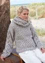 Теплый комплект с фантазийными узорами: свободный пуловер и длинный шарф. Спицы