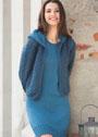 Комплект в синих тонах: платье и жилет с капюшоном. Спицы