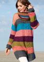 Полосатое платье-туника с крупной косой и шарф-хомут. Спицы