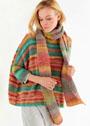 Разноцветный пуловер оверсайз, дополненный длинным шарфом. Спицы
