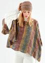 Разноцветный теплый комплект: пончо с ажурным узором и простая шапочка. Спицы