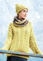 Теплый яркий комплект: объемный пуловер, шарф-петля и шапка. Спицы