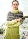Теплый комплект с сочетанием плетеных структур: удлиненный свитер и широкий шарф-петля. Спицы