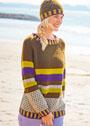 Разноцветный комплект: пуловер-реглан и шапочка в тон. Спицы