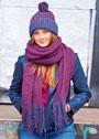 Двухцветный комплект с патентным узором: шапочка с помпоном и длинный шарф. Спицы