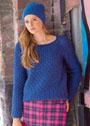 Синий шерстяной комплект: рельефный пуловер и шапка бини. Спицы