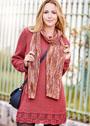 Лаконичное красное платье с ажурной отделкой, дополненное кружевным шарфом. Спицы