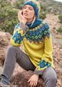 Жаккардовый комплект из свитера с круглой кокеткой и небольшой шапочки. Спицы