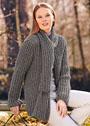 Серый теплый жакет и шарф из объемной пряжи. Спицы