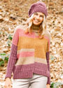 <br>Теплый комплект из асимметричного разноцветного свитера оверсайз и однотонного берета. Спицы