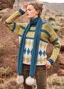 <br>Пуловер с жаккардовыми ромбами и шарф с помпонами. Спицы