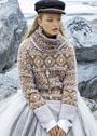 Теплый комплект с жаккардовыми геометрическими узорами: пуловер и снуд. Спицы