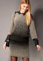 Костюм из пряжи секционного крашения: пуловер и мини-юбка. Спицы