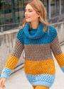 Пуловер с широкими полосами и узором из снятых петель, дополненный снудом. Спицы
