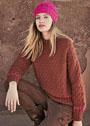 Комплект из терракотового пуловера с ромбами и розовой шапочки. Спицы